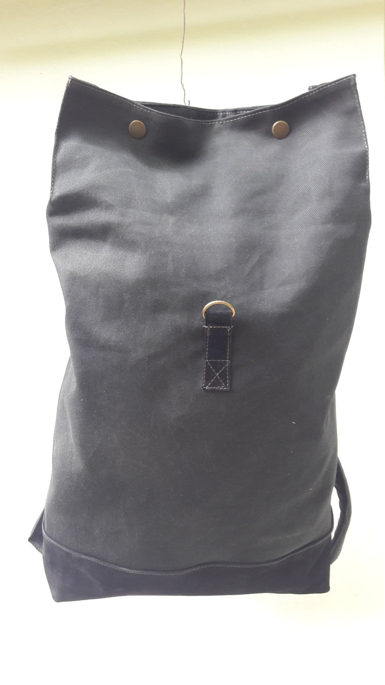 Black Backpack Vaxed Canvas Anniversary Gift for Women or Man,College Bag Black Leather Gift Present
