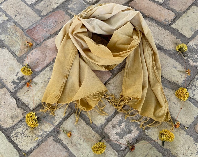 Botanic Dyed Scarf,  Marigold, handwoven organic cotton with tassels.