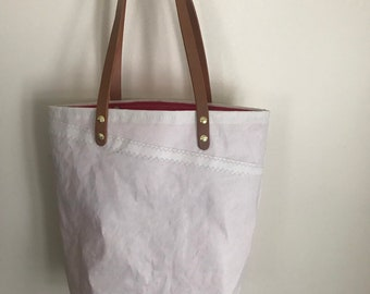 Recycled Sailcloth Small Tote Bag with hand finished leather handles