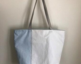 Sail Cloth Tote, wine bag, beach bag, travel bag, grey webbing handle