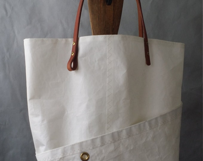 Custom Sail cloth purse, four pocket, harness leather handle,