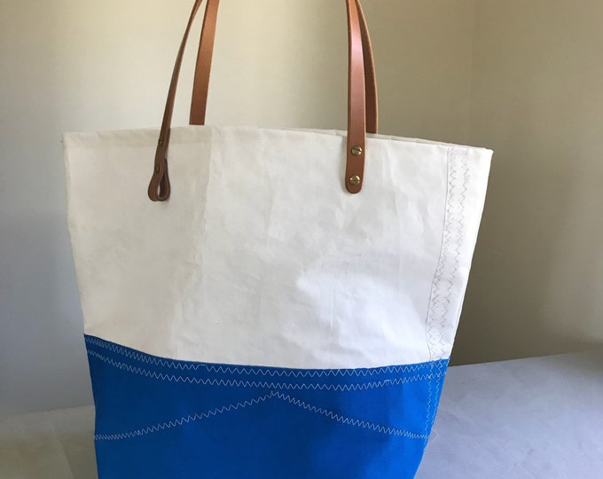Sail cloth tote, harness leather handle,