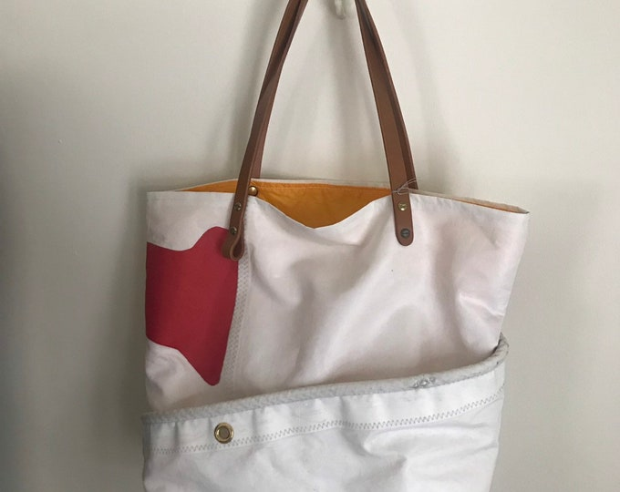 Special listing for Cia. Sail cloth purse, four pocket, leather handle, tangerine sponnaker lining.