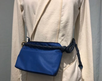 Belt Bag, Converts to Crossbody, Blue Leather and Navy Sailcloth