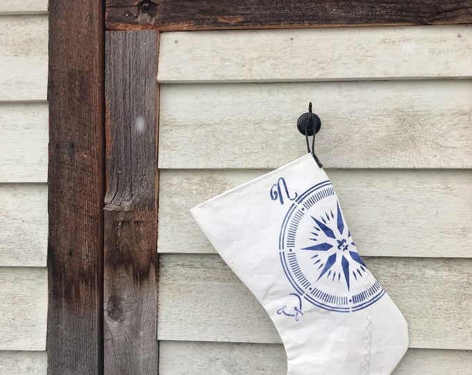 Recycled Sailcloth Holiday Stocking, Blue Leather Loop, Brass Rivets