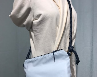 Belt Bag, Converts to Crossbody, Blue Leather and Baby Blue Sailcloth