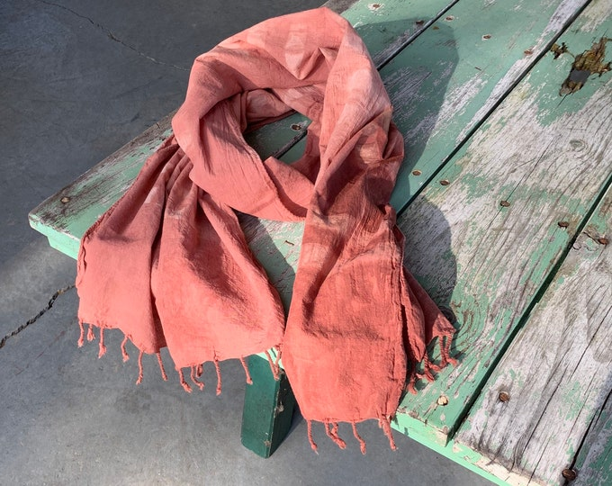 Botanic Dyed Scarf, Quebracho Rojo, handwoven organic cotton with tassels.
