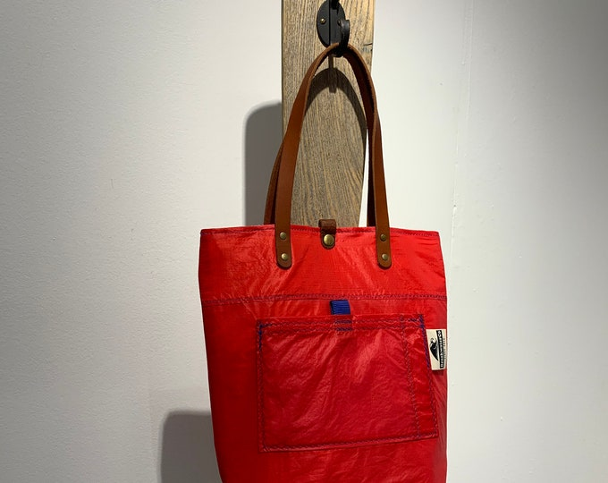 Red Recycled Sailcloth Purse, leather handles