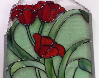 Stained Glass Field of Poppies