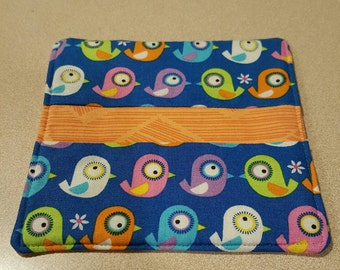 Set of 6 reversible quilted zoo birds coasters