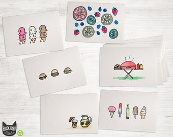 Linocut Handmade Cute Food Note Cards Coffee /& Donuts Block Print Blank Greeting Card Set