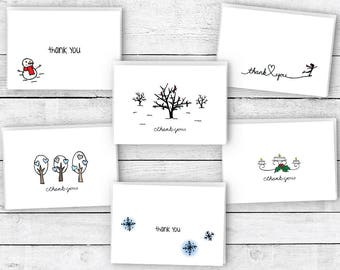 Thank You Cards Winter Collection - 24 Cards & Envelopes