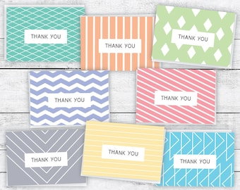 Geometric Modern Thank You Note Cards Variety - 48 Cards & Envelopes