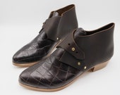 The mussenden. black croc embossed with raider dark brown. 3cm    handmade shoes, minimal and soft    made to order   