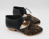 The javian. black leopard hair on and brasil nero. 2cm.    handmade shoes, minimal and soft    made to order   