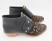 The mussenden. black leopard hair on and brasil nero. 3cm    handmade shoes, minimal and soft    made to order   