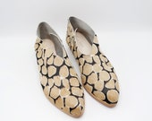 The audrey. giraffe print hair on    handmade shoes, minimal and soft    made to order   