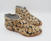 The terilyn. giraffe print hair on. 2cm.    handmade shoes, minimal and soft    made to order   