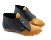 The laura.  wheat hair on leather with large black pebble grain. 2cm.    handmade shoes, minimal and soft    made to order   