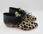 The wendy. spotted hair on and brasil nero    handmade shoes, minimal and soft    made to order   