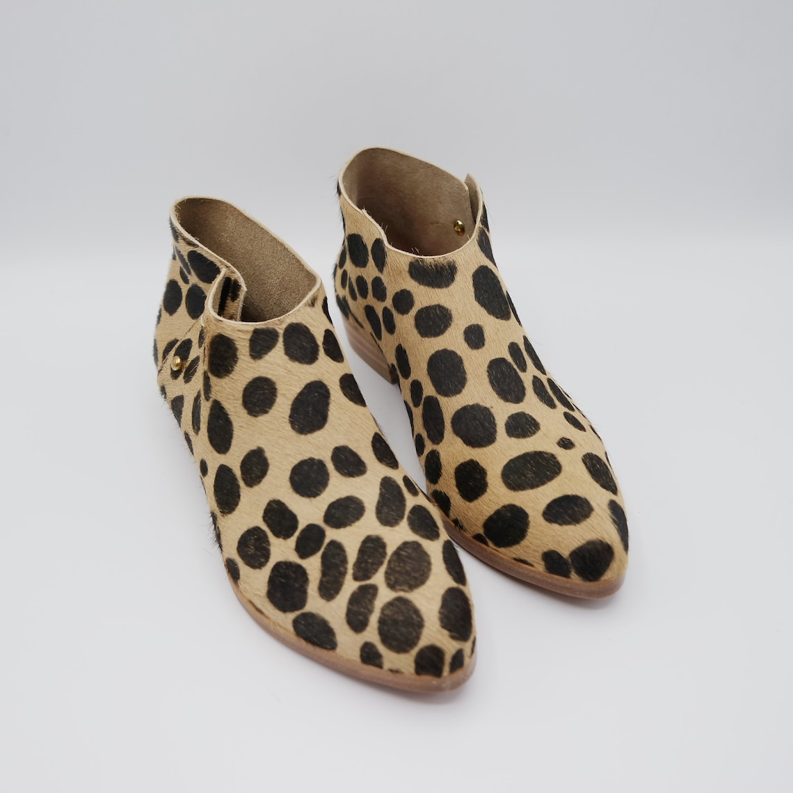 The karina. spotted hair on. 3cm || handmade shoes, minimal and soft || made to order ||