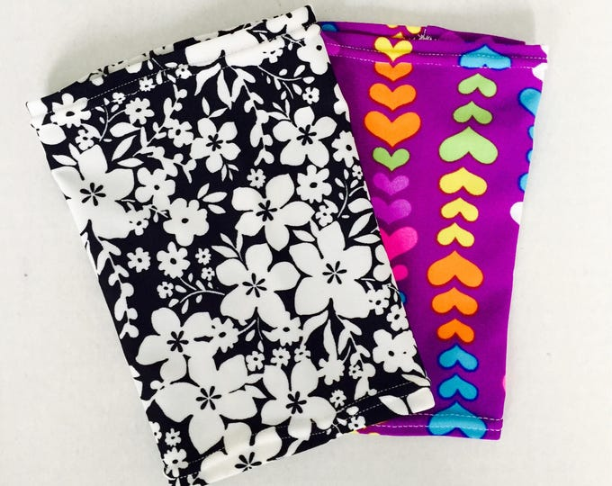 2 pack purple heart and flower power picc line covers to go with everyday outfit
