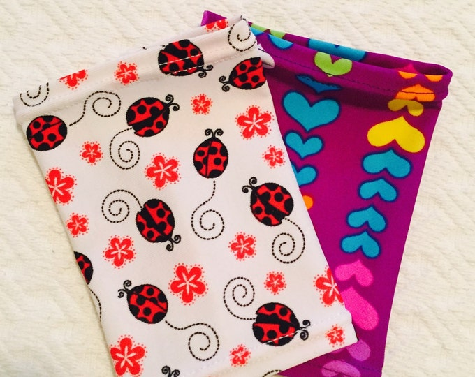 2 pack children picc line covers- lady bug and colourful hearts picc line covers perfect for the princess!