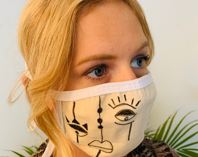 Women Face Mask with Line Art, Washable with Filter Pocket, 100% Cotton, 3 Layers, Adult, Fast Shipping