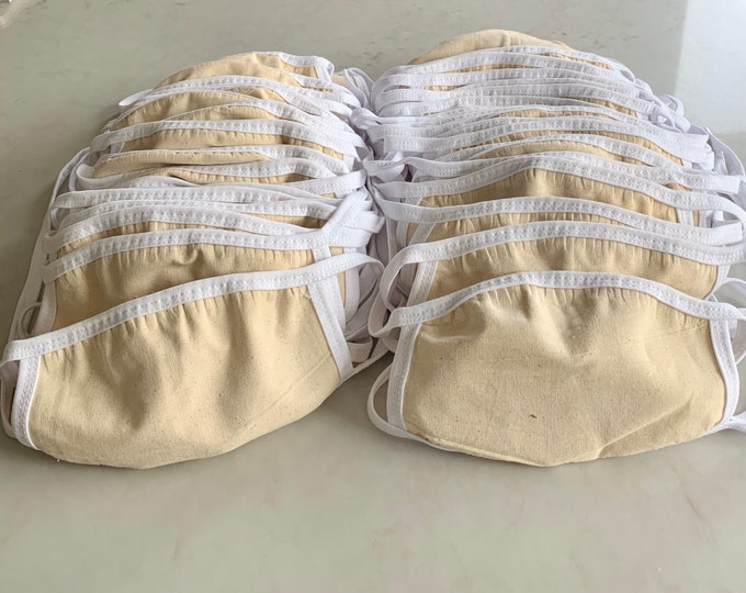 50 Pack Face Mask, Cotton Face Masks, Bulk Order Face Mask-3 Layers Includes Filter Pocket