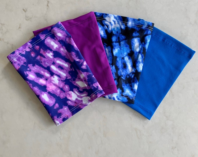 Fabulous Four Pack for Picc Line or Freestyle Libre Covers-Includes purple tie dye, blue tie dye, purple and royal blue covers