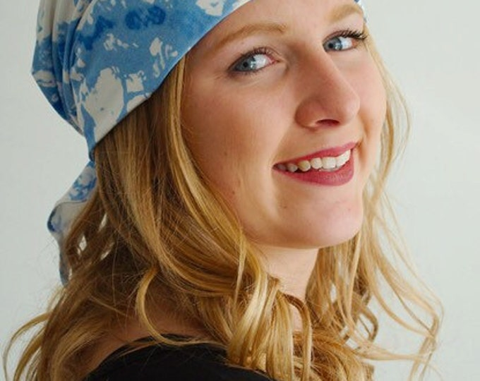 Cancer Hats-we created the scarf hat to look like a stylish bandana but easily goes on like a hat.