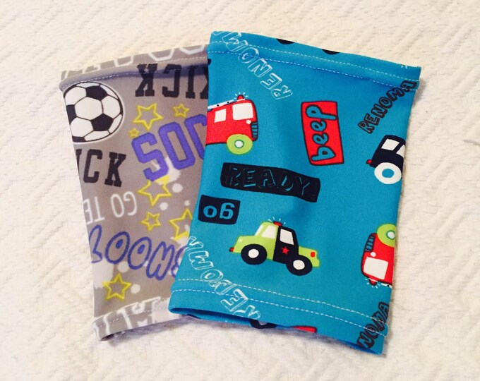 2 pack children picc line covers- soccer star and beep, beep truck covers perfect for your little guy!