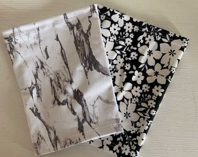 2 pack black and white marble and flower pattern picc line covers to go with everyday outfit