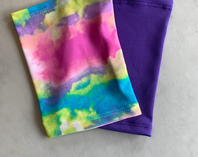 2 pack purple and rainbow picc line cover, perfect pack to go with any outfit!