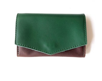 4983d9b310b9 Green Brown Leather Wallet Small Wallet Personalized Wallet For Her For Him Green  Wallet Gift Idea Leather Accessories