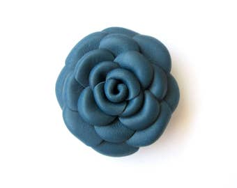 Blue Leather Rose Leather Brooch Leather Flower Brooch For Woman Gift Idea For Her Leather Jewelry