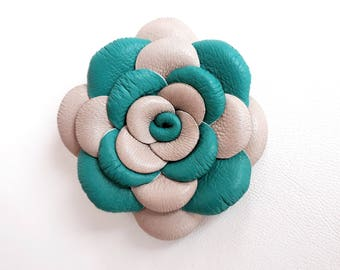 Turquoise Beige Leather Rose Leather Brooch Leather Flower Brooch For Woman Gift Idea For Her Leather Jewelry