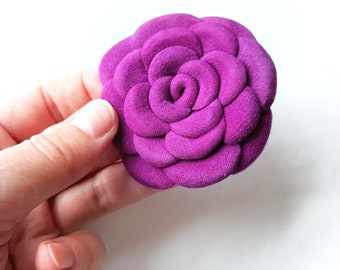 Purple Leather Rose Leather Brooch Leather Flower Brooch For Woman Gift Idea For Her Leather Jewelry