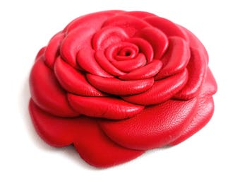 Big Red Leather Rose Leather Brooch Leather Flower Brooch For Woman Gift Idea For Her Leather Jewelry