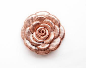 Rose Gold color Leather Rose Leather Brooch Leather Flower Brooch For Woman Gift Idea For Her Leather Jewelry