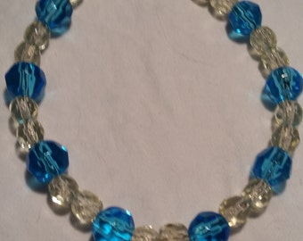 Czech Glass turquoise and clear glass beaded bracelet