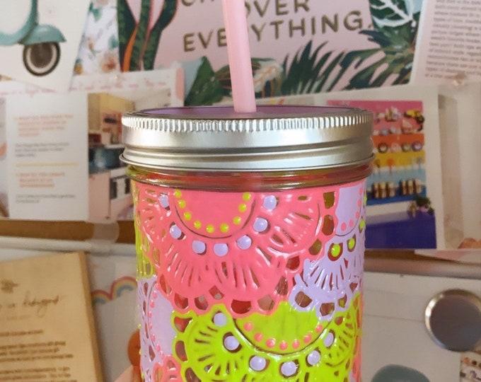 Multicolored 16 oz Mason Jar Tumbler Hand painted