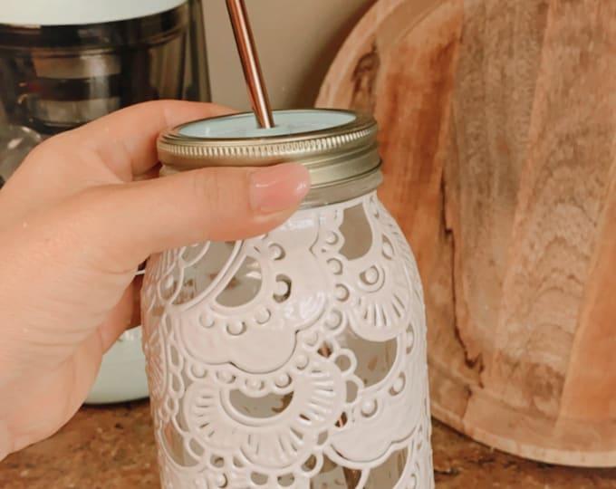 White lace mason jar