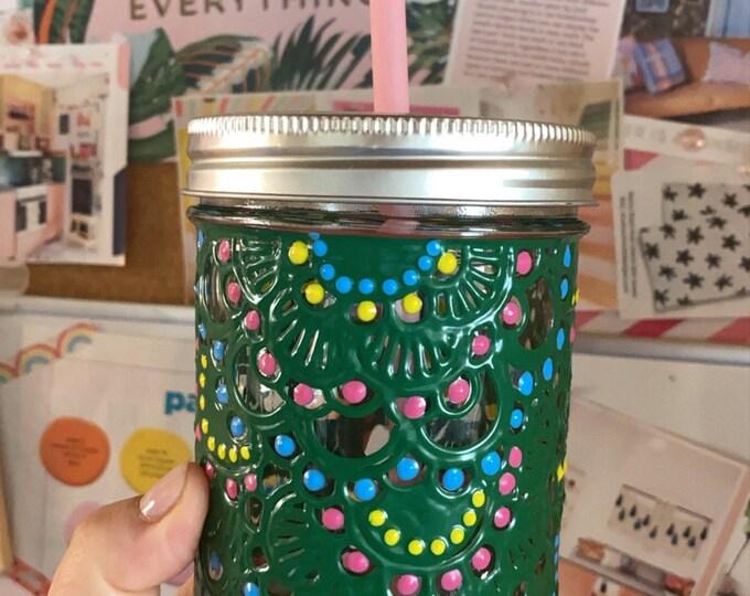 16 ounce Mason jar hand painted tumbler