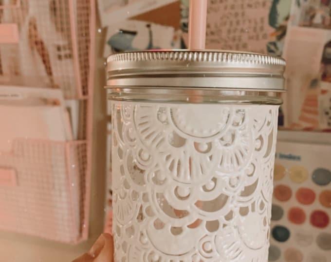 16 oz. Mason jar hand painted
