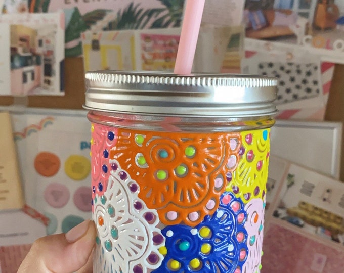 Multicolored 16 oz. Mason jar drinking tumbler