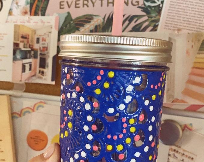 Hand painted 16 ounce Mason Jar tumbler
