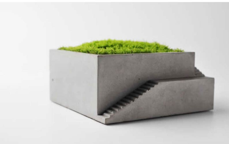Small Concrete Planter Succulent Planter Box Gardener Gift Women Indoor Plant Pot Desk Organizer For Men Coworker Gift Cactus Planter