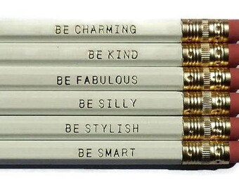 Gentle Reminder Pencils. Set of 6. White Pencils. Cute Pencils. Gifts for Her. Back to school supplies. USA Made.Inspirational.