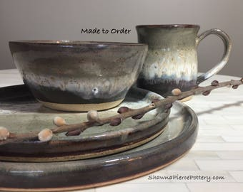Dinnerware Sets, 4 Piece Place Setting, Pottery Dinnerware, Place Setting, Dinner Plates, Bowls, Mug, Pottery, Dinnerware, Handmade Pottery